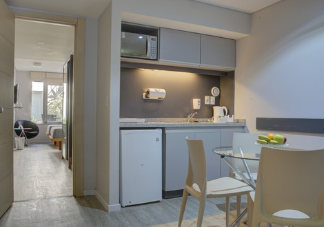 Kitchenette Regency Rambla Design Apart Hotel Montevideo